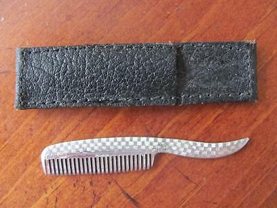 Vintage Men's Sterling Silver Small Moustache Grooming Comb w/Leather Case