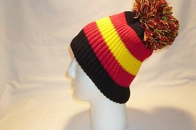 Luxury Red Yellow Black Striped Bobble Hat Beanie Fleece Lined Mens Womens Kids