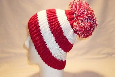 Luxury Red And White Striped Bobble Hat Beanie Fleece Lined Mens Womens Kids New