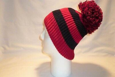 Luxury Red And Black Striped Bobble Hat Beanie Fleece Lined Mens Womens Kids New