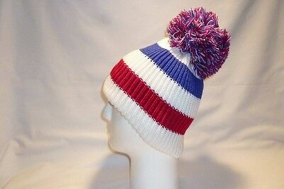 Luxury Red White Blue Striped Bobble Hat Beanie Fleece Lined Mens Womens Kids