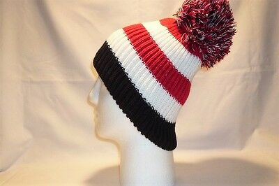Luxury Red White Black Striped Bobble Hat Beanie Fleece Lined Mens Womens Kids