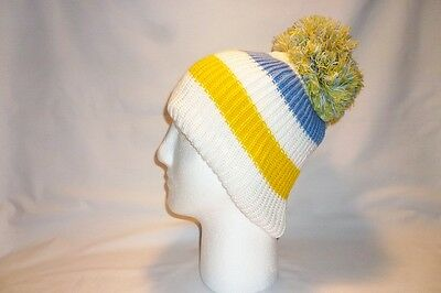 Luxury White Blue Yellow Striped Bobble Hat Beanie Fleece Lined Mens Womens Kids