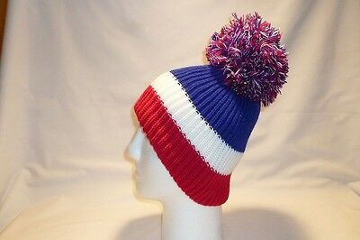 Luxury Blue With Red White Stripe Bobble Hat Beanie Fleece Lined Mens Women Kids