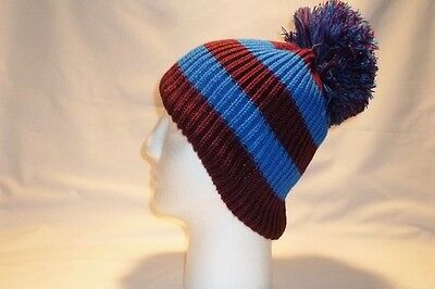 Luxury Claret Maroon Blue Striped Bobble Hat Beanie Fleece Lined Mens Women Kids