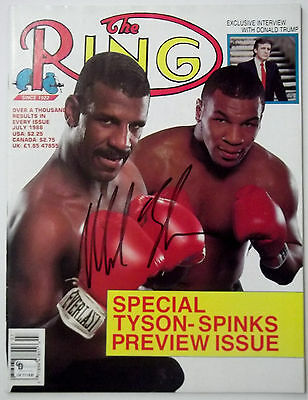 MIKE TYSON Signed July 1988 The Ring Boxing Magazine w/ MICHAEL SPINKS Rare GAI