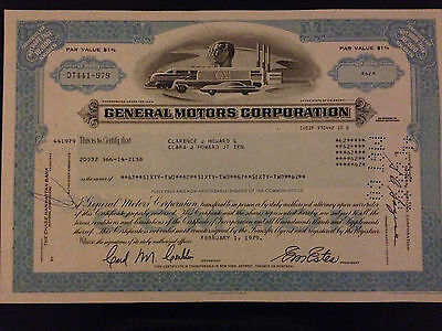 General Motors (GM) Chevrolet GMC Pontiac Cadillac SAAB stock certificate