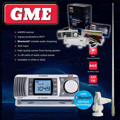 Gme Gr300 Boat Marine Radio Am Fm Bluetooth + Box Speakers + Antenna + Base