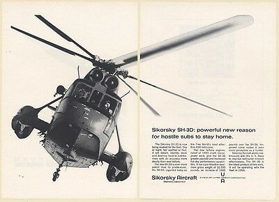 1966 Sikorsky SH-3D Helicopter 2-Page Print Ad