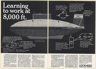 1968 Lockheed Deep Quest Research Submarine 2-Page Print Ad