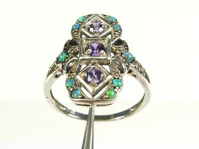 .33ctw Natural Amethyst and Opal Victorian Deco Sterling Filigree Ring s7 110a
