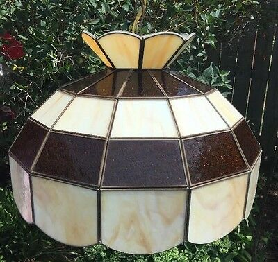 """Vintage """"AMBER"""" Leaded Stained Glass Slag Shade Hanging Ceiling Light Chandelier"""