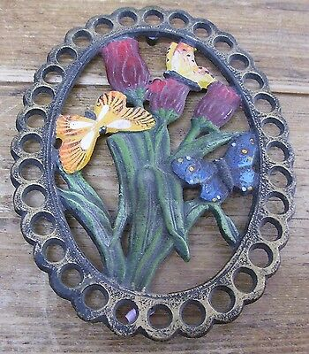 Cast Iron Red Flower Tulip Butterfly Trivet Hot Plate Holder Vintage Butterflies