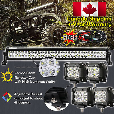 32inch LED Light Bar Combo +4x 4inch Cree Work Off road 4WD Truck Jeep SUV 30/34