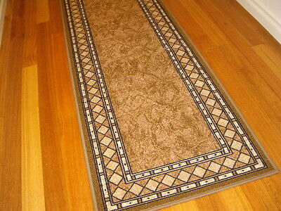 Extra Large Hall Runner Rug Patterned Designer Beige 500cm Long FREE DELIVERY