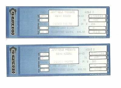 Kenny Rogers Unused Concert Tickets From April 22,1988