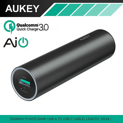 Aukey Quick Charge 3.0 Power Bank 5000mAh Portable External Battery 20CM Cable