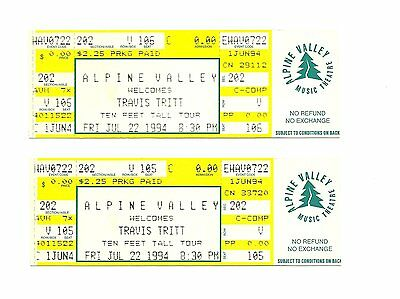 Travis Tritt Unused Concert Tickets From 1994