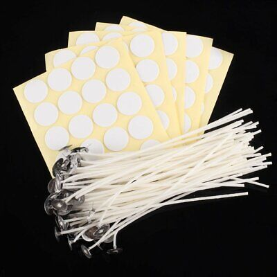 """100 x Candle Wicks 6"""" COTTON Core Candle Making Supplies Pretabbed + Stickers"""