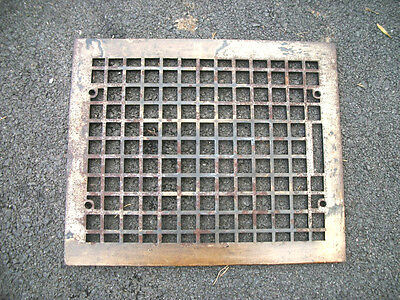 "Vintage Steel Floor Heat Grate Register Vent Old Hardware 14"" x 17"""