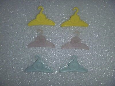 Set Of 6 Clamp Style Hangers For Barbie Clothes In Three Colors 1 Transluscent
