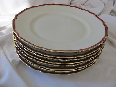 Heinrich Ivory Body Supreme 40's red band gold rims 8 dinner plates 15504
