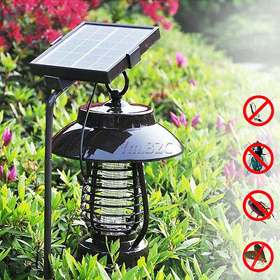 Waterproof solar powered mosquito killer lamp bug fly moth pest insect zapper
