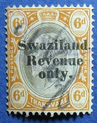 1904 6d SWAZILAND REVENUE BAREFOOT # 26 USED  CS10618