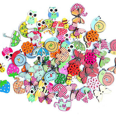 Cute 50Pcs Mixed Animal 2 Holes Wooden Buttons for Sewing Craft Scrapbooking DIY