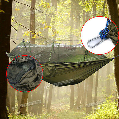 Outdoor Travel Camping Home Garden Hanging Nylon Bed Hammock + Mosquito Net