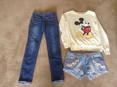 Bundle Of Womens/Girls Clothes Size 6 Pilot Jeans Mickey Mouse Sweatshirt Shorts