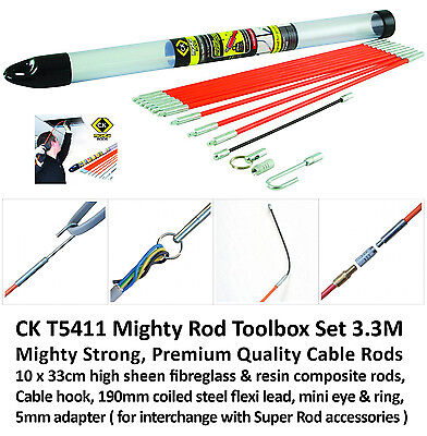 CK T5411 ELECTRICAL MIGHTY ROD TOOL BOX SIZE CABLE ACCESS SET 3.3m ELECTRICIAN'S
