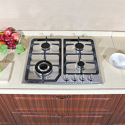 """New 23"""" Stainless Steel Built-in Kitchen 4 Burner Stove Gas Hob Cooktop Cooker"""