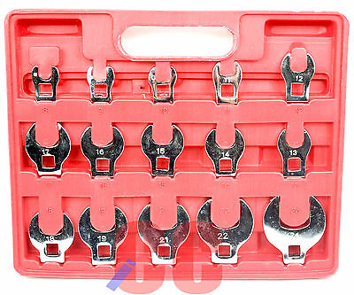 """15Pc Crow Foot Spanner Wrench Set Garage Tool 3/8"""" Drive Dr Socket Heads ends"""