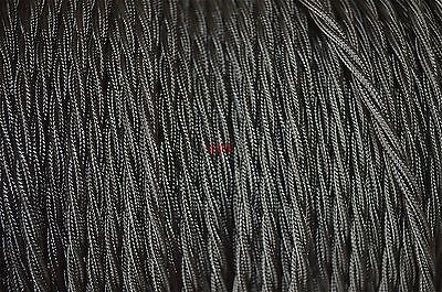 1 meter of black twisted vintage lamp cable flex wire 3 core thin Anglepoise T1