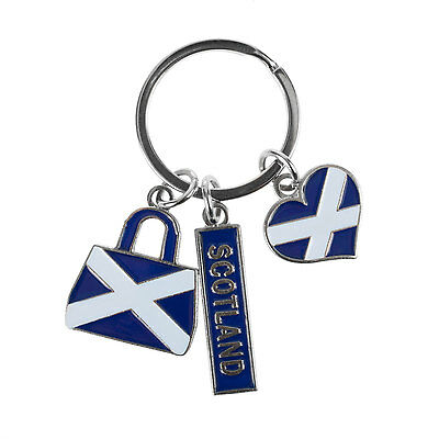 Heritage of Scotland Scot/Saltire Heart/Bag Keyring