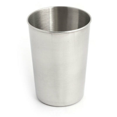 Household Bar Stainless Steel Water Wine Beer Cup Container Silver Tone 300ML