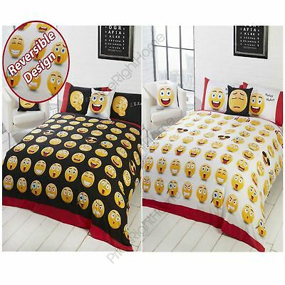 Emoji Icons Single And Double Duvet Cover Sets - Smiley Faces New Black Free P+P