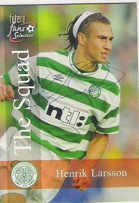 A Futura Fans Selection card signed by Henrik Larsson of Glasgow Celtic.