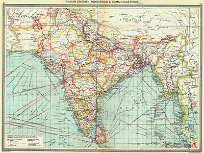 INDIA. Indian Empire. Industries and Communications 1907 old antique map chart