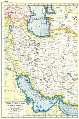 PERSIA WEST. Iran. Roads railways.. HARMSWORTH 1920 old vintage map plan chart