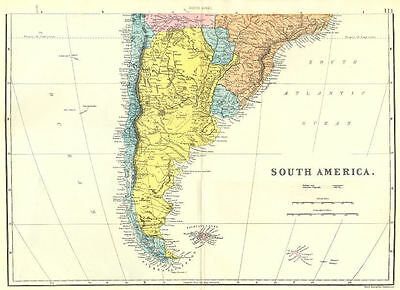 ARGENTINA CHILE Uruguay Paraguay.SOUTH AMERICA South sheet. Bacon 1895 old map