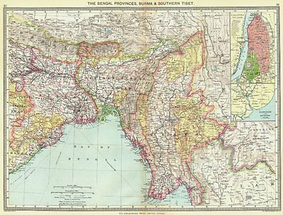 INDIA. Bengal Provinces, Burma & Southern Tibet; maps of Kolkata; Rangoon 1907