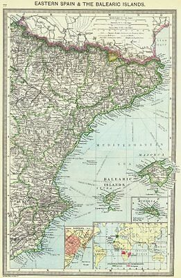 SPAIN. Eastern, Balearic Islands; Barcelona; colonies 1907 old antique map