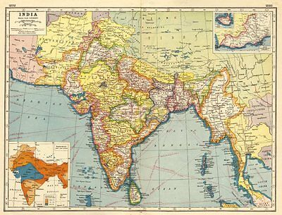 BRITISH INDIA. Showing states. Burma Baluchistan.Monsoon map.Inset Aden 1920