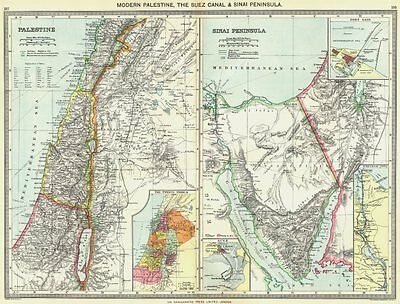 ISRAEL. Palestine; Sinai; port Said; Suez Canal; 12 Tribes 1907 old map