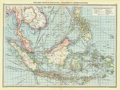 ASIA. East Indies & Indo-China. Industries & Communications 1907 old map