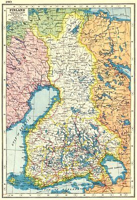 FINLAND. Finland Suomi. HARMSWORTH 1920 old vintage map plan chart
