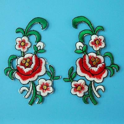 2 Rose Flower Iron on Sew Collar Patch Cute Applique Badge Embroidered Bust Lots