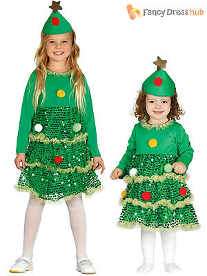 Girls Christmas Tree Costume Childs Toddler Xmas Fancy Dress Kids Novelty Outfit